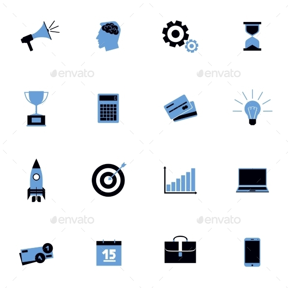 GraphicRiver Black and Blue Business Icons Flat Set 11128911