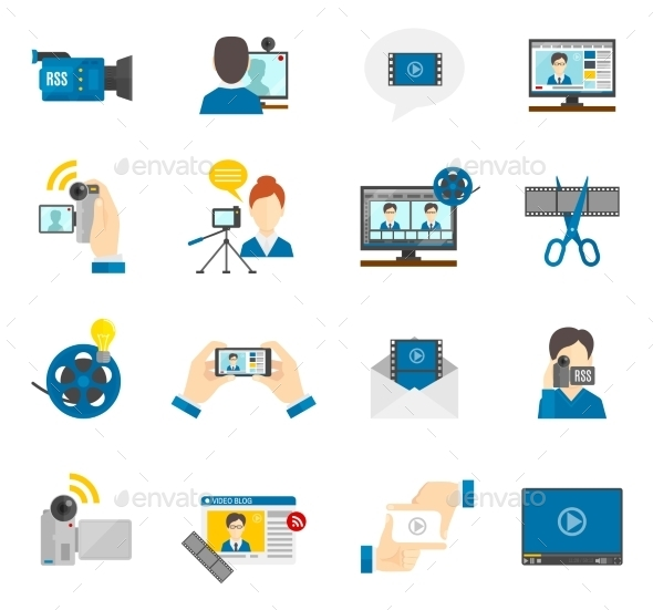 GraphicRiver Flat Icon Video Blog 11128914