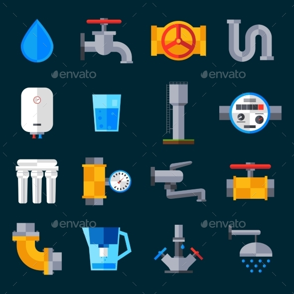 GraphicRiver Water Supply Icons 11128920