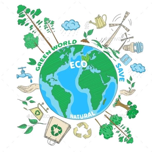 GraphicRiver Doodle Ecology Concept 11129261