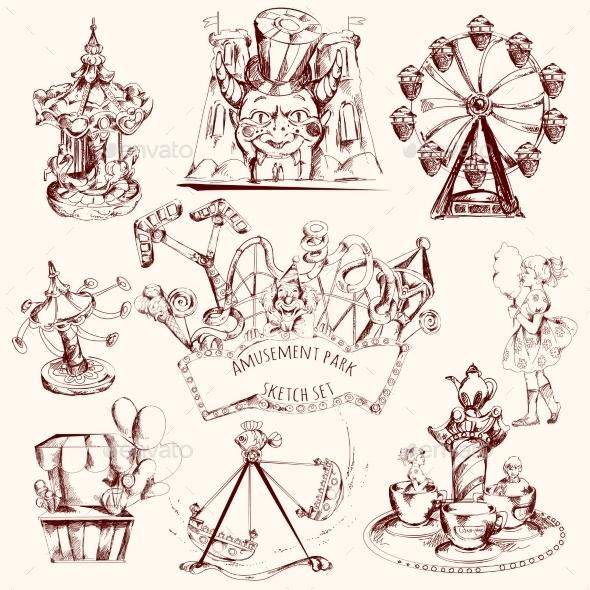 GraphicRiver Amusement Park Sketch 11129295