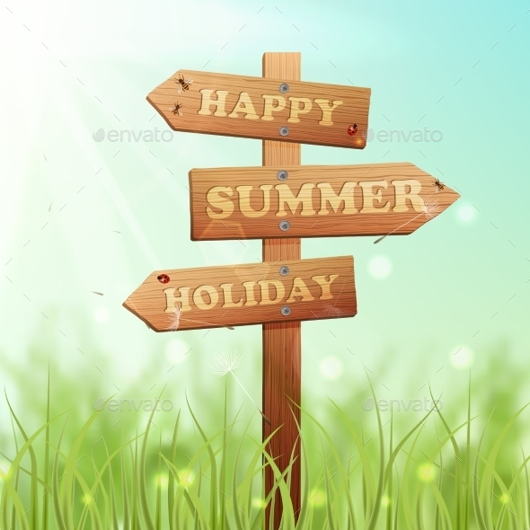 GraphicRiver Wooden Summer Sign 11129332