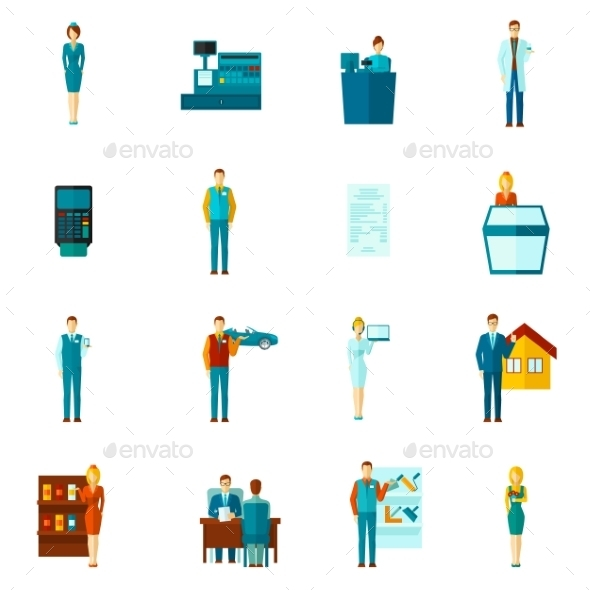 GraphicRiver Salesman Icons Flat Set 11129369