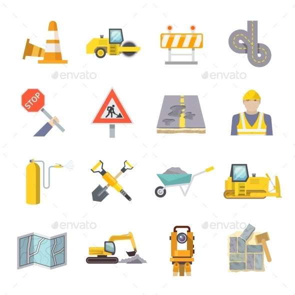 GraphicRiver Road Worker Flat Icons Set 11129400