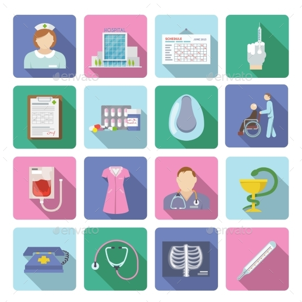 GraphicRiver Nurse Icon Flat Set 11129404
