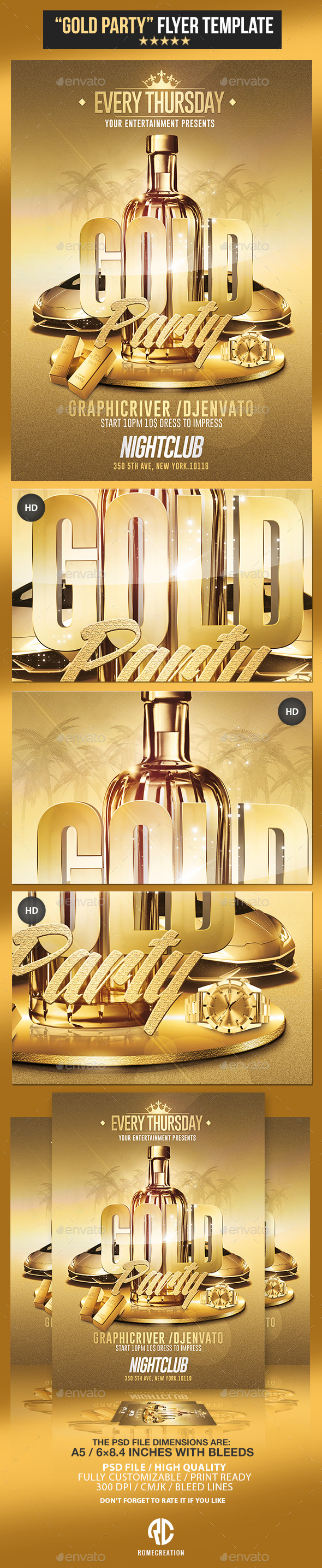 GraphicRiver Gold Party Psd Flyer Template 11129405