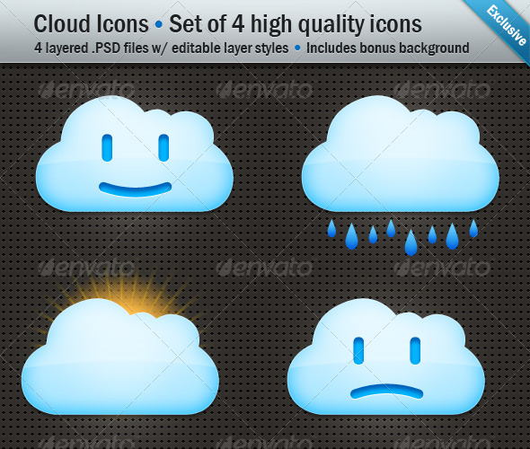 Cloud Icons - Set of 4 Layered .PSD files & .PNG - Web Icons
