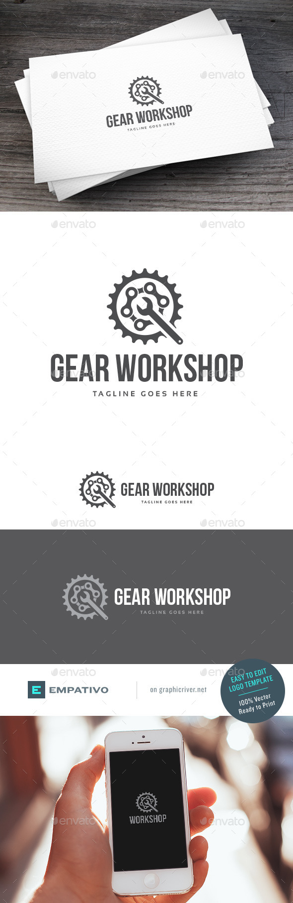 GraphicRiver Gear Workshop Logo Template 11131373