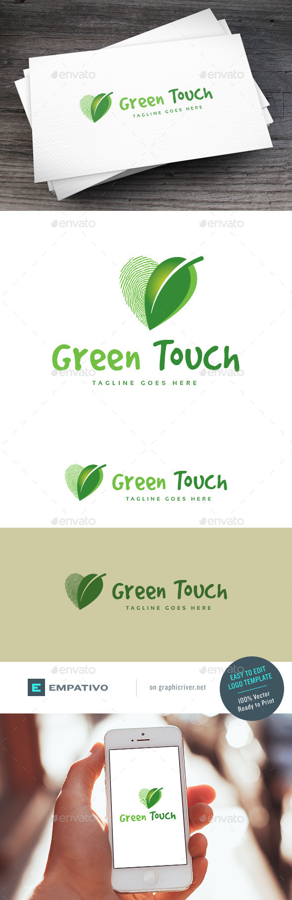GraphicRiver Green Touch Logo Template 11131375