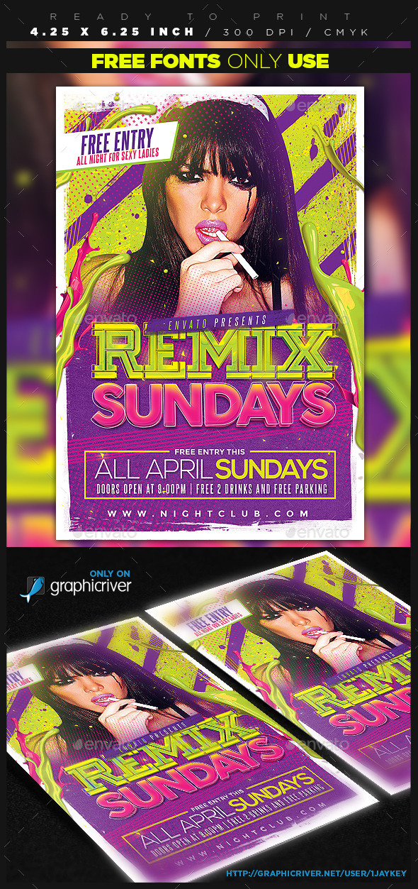 GraphicRiver Remix Sundays Party Flyer 11132190