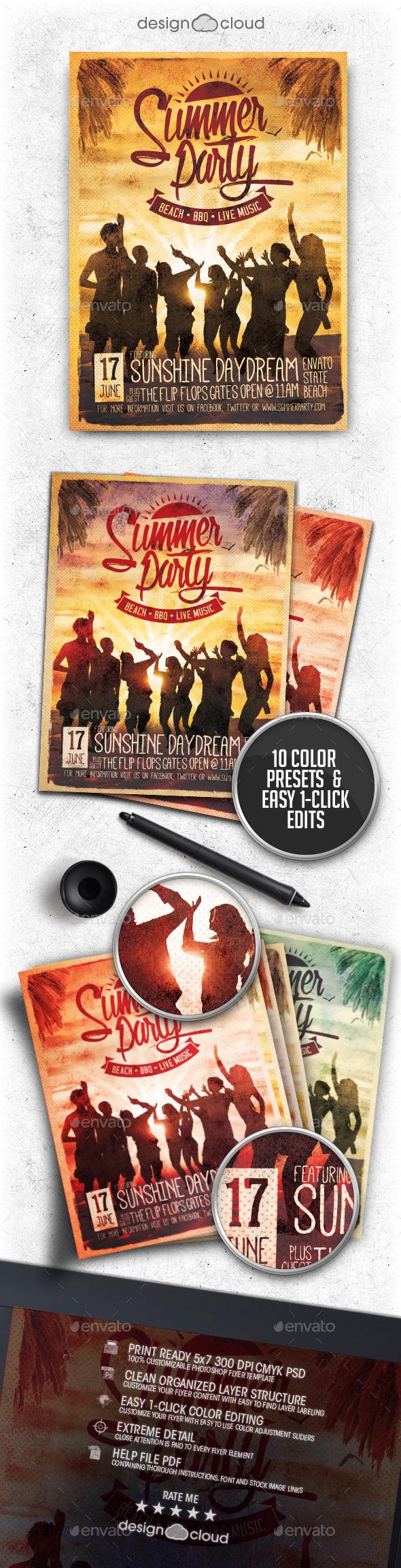 Retro Summer Party Flyer Vol. 1