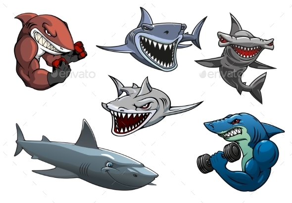 GraphicRiver Cartoon Sharks 11136215