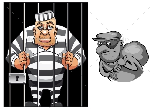 GraphicRiver Cartoon Prisoner and Robber 11136448