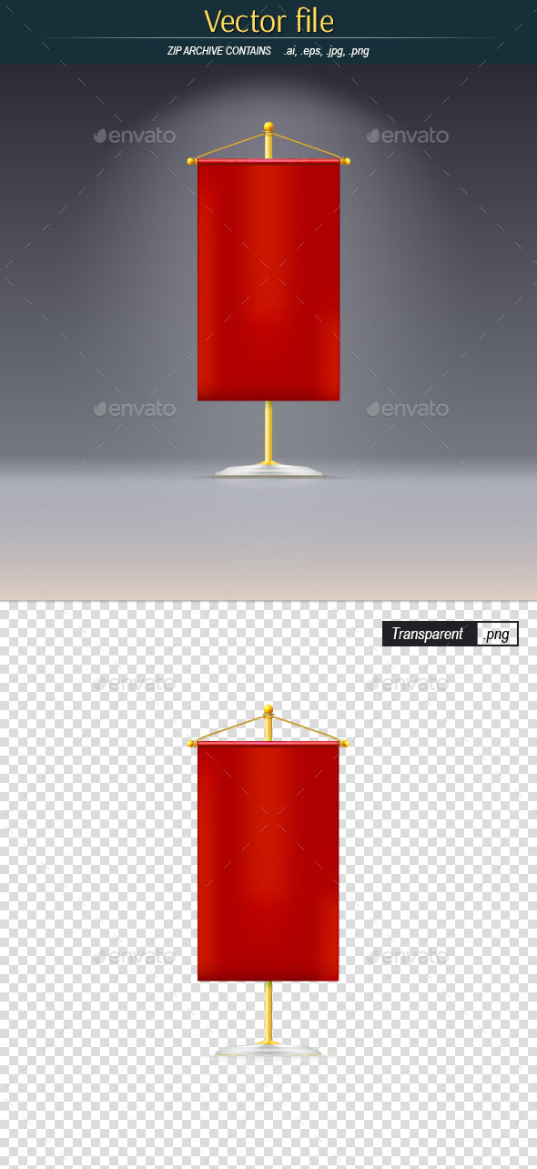 GraphicRiver Red Pennant on a Gold Stand 11136938