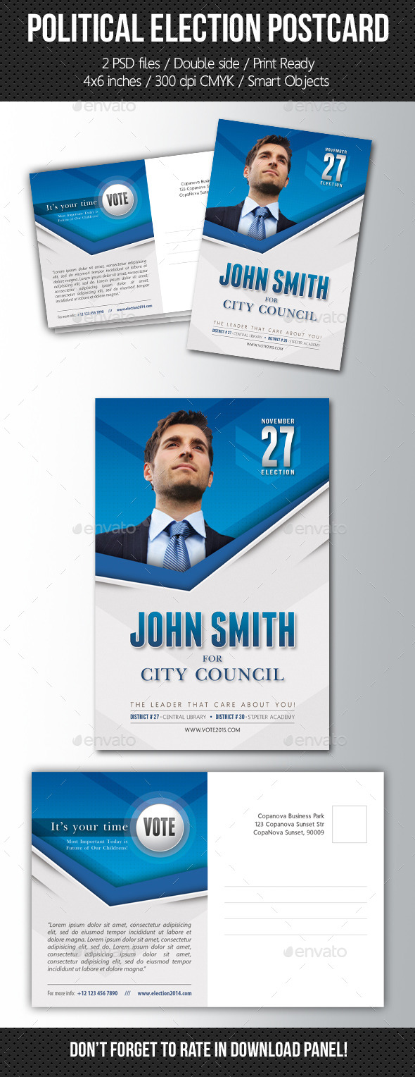 GraphicRiver Political Election Mailer Postcard Template 11136960