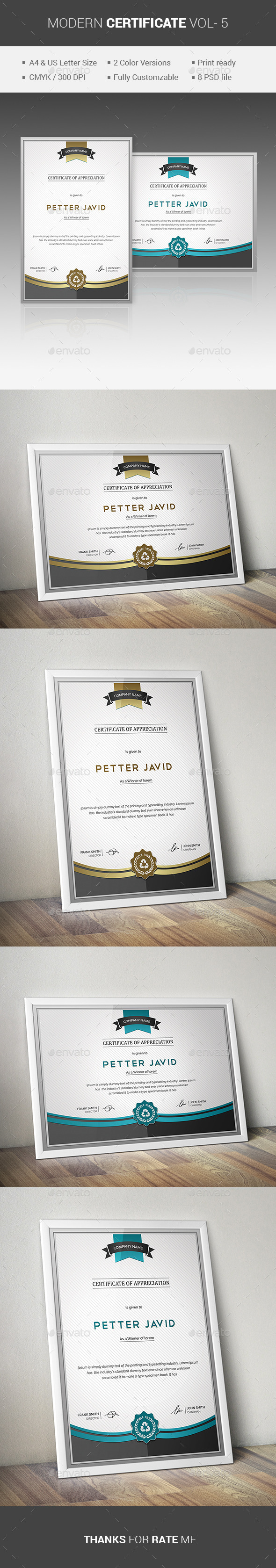 GraphicRiver MODERN Certificate VOL- 5 11136971