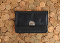 Leather Wallet on a background coins - PhotoDune Item for Sale