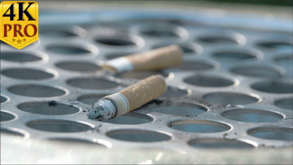 View of the Cigarette on the Bin