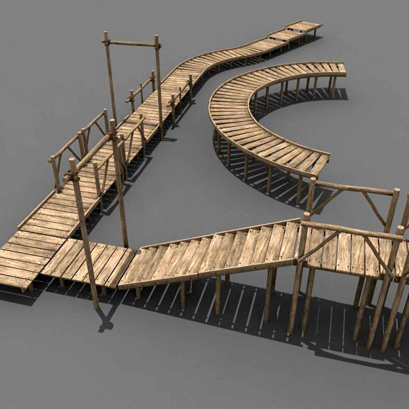 Modular Wood Walkway or Jetty - 3DOcean Item for Sale