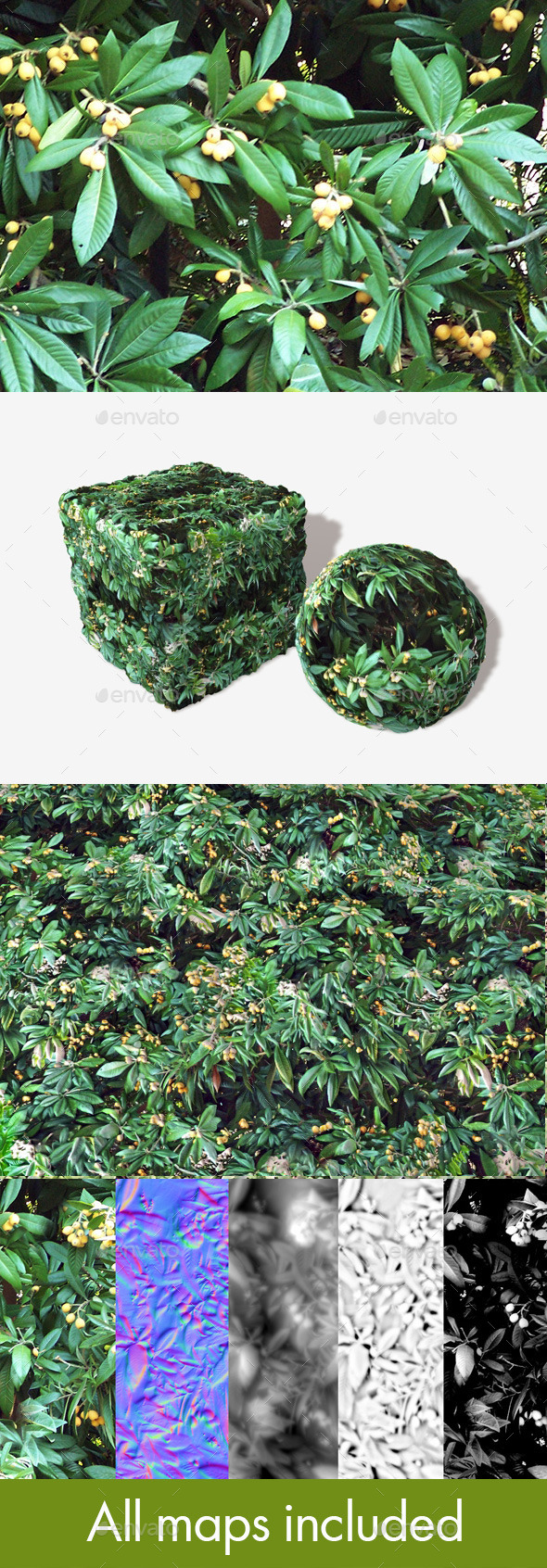 Yellow Berry Bush Seamless Texture - 3DOcean Item for Sale