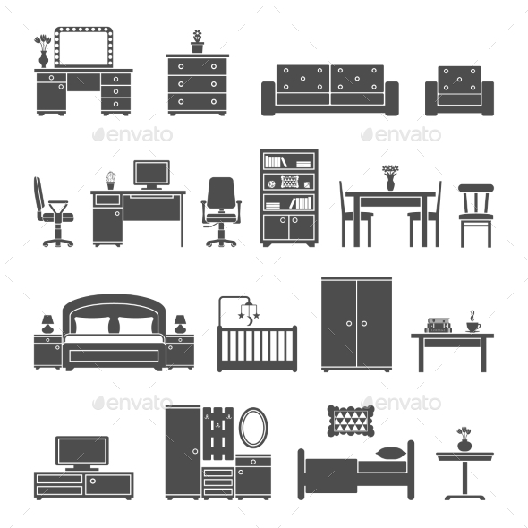 GraphicRiver Furniture Interior Flat Icons 11139718