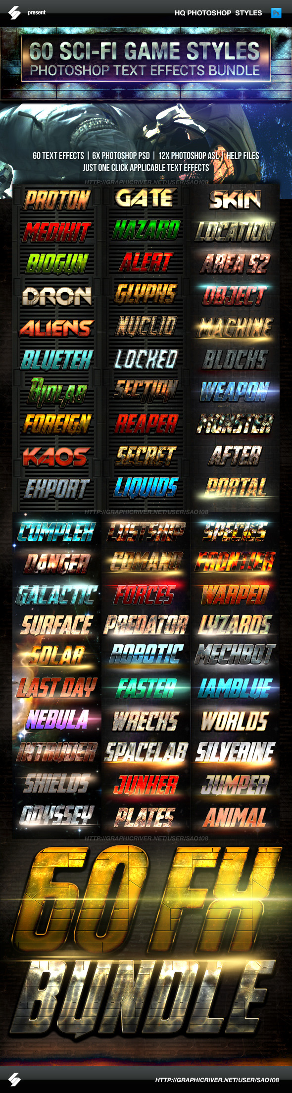 GraphicRiver Action Sci-fi Game Style Text Effects Bundle 11139806