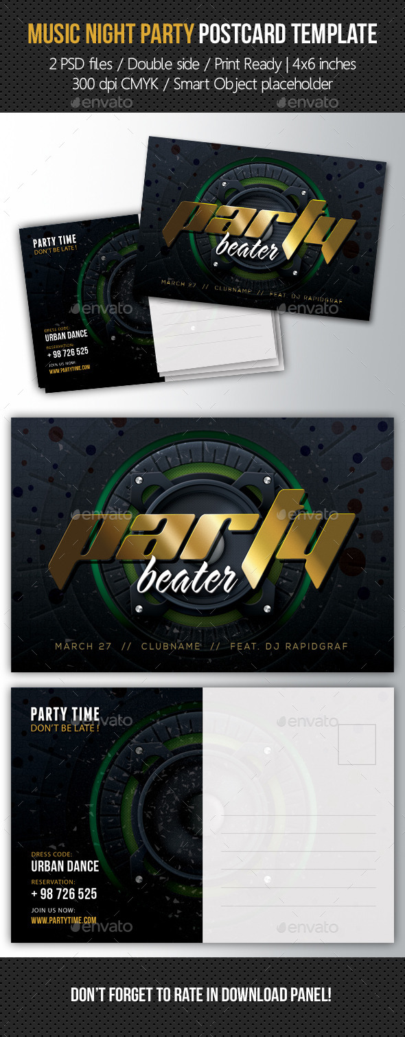 GraphicRiver Music Night Party Postcard Template V07 10513191