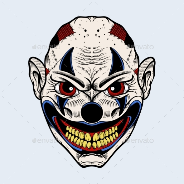 GraphicRiver Illustration of Evil Clown with Red Eyes 11140204