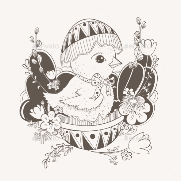 GraphicRiver Little Chicken in Easter Egg Shell 11140301