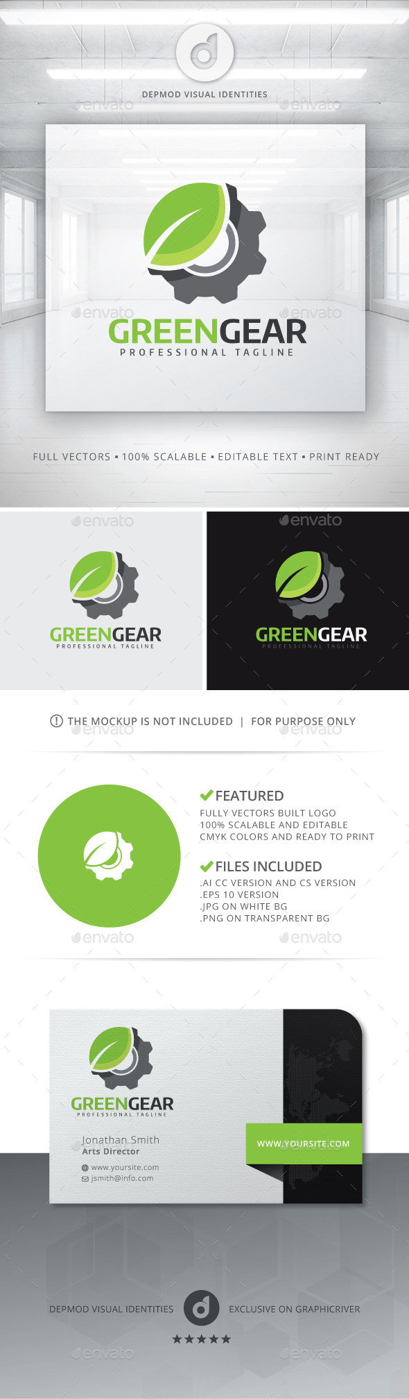 GraphicRiver Green Gear Logo 11144582