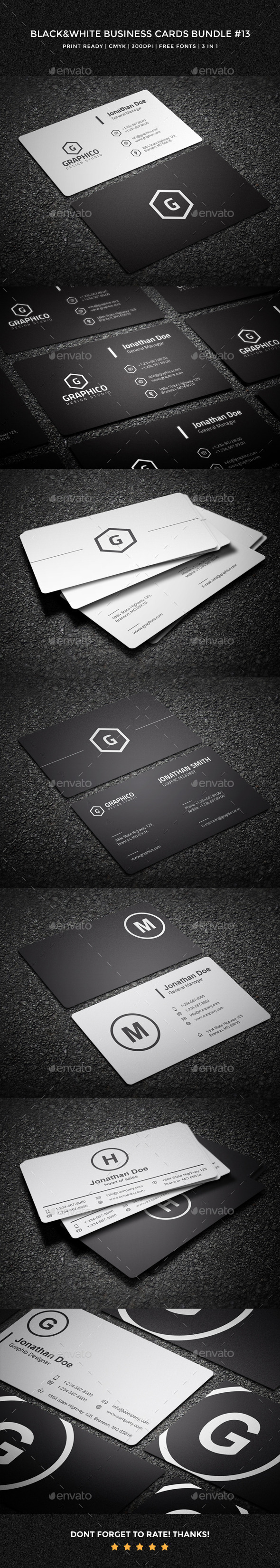 GraphicRiver Black & White Business Cards Bundle 13 11089859