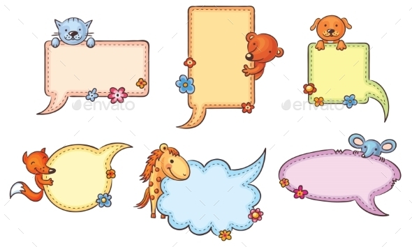 GraphicRiver Speech Bubbles with Cartoon Animals 11145022