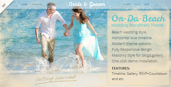 ThemeForest On Da Beach Wedding WordPress Theme 11016909