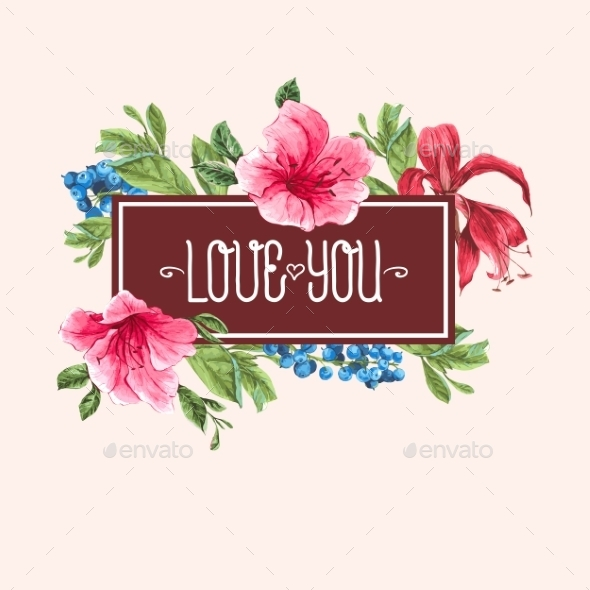 GraphicRiver Vintage Watercolor Greeting Card with Blooming 11145760