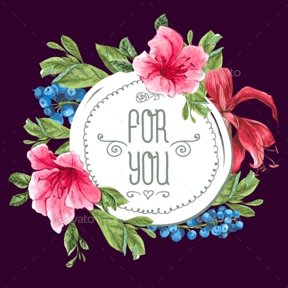 GraphicRiver Vintage Watercolor Greeting Card with Blooming 11145809