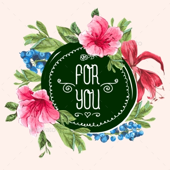 GraphicRiver Vintage Watercolor Greeting Card with Blooming 11145868