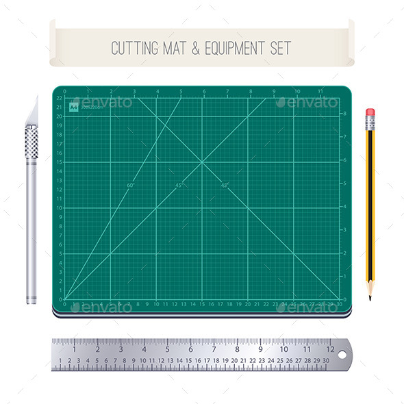 GraphicRiver Cutting Mat and Equipment Set 11125591