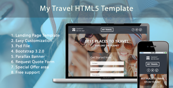 Image of  My Travel HTML5 Landing Page