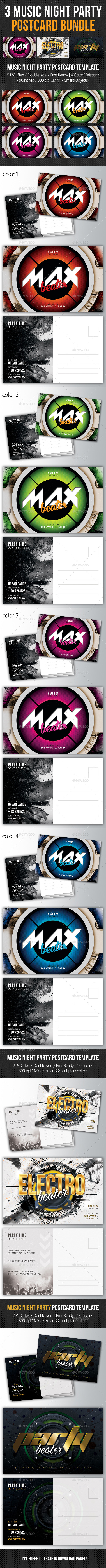 GraphicRiver 3 in 1 Music Night Party Postcard Bundle 02 11147017