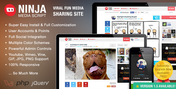 Ninja Media Script - Viral Fun Media Sharing Site - CodeCanyon Item for Sale