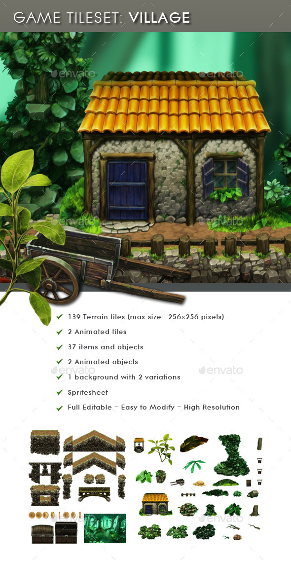 GraphicRiver Platform Game Tileset Village 11147276
