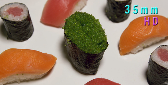 Assorted Sushi With Green Caviar