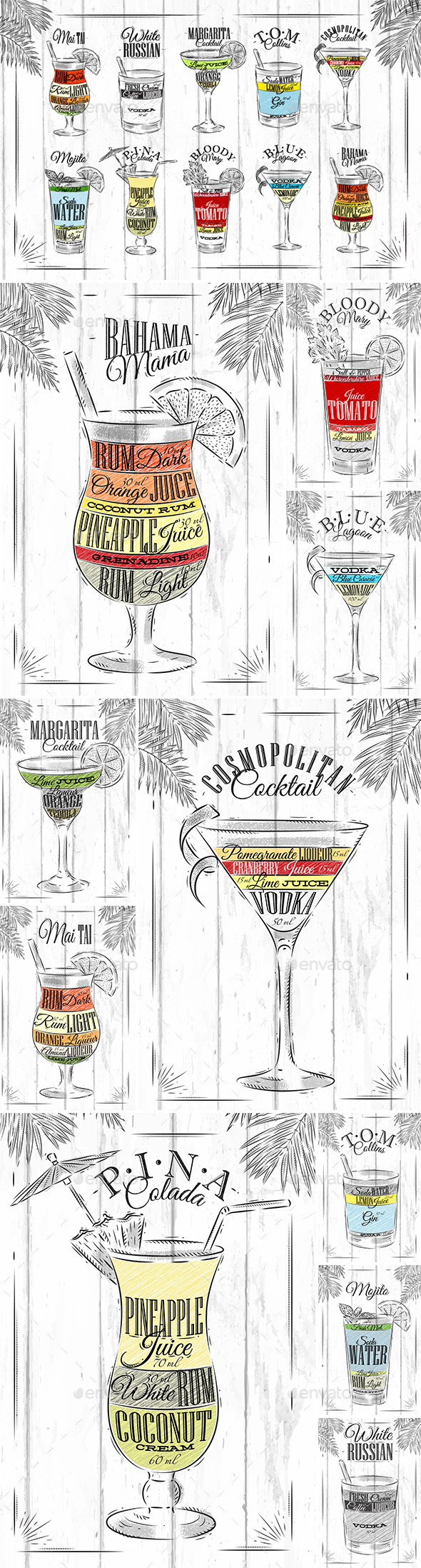 GraphicRiver Set Coctails Coal 11148131