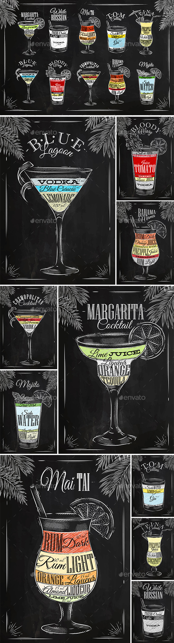 GraphicRiver Coctails Chalk Set 11148172