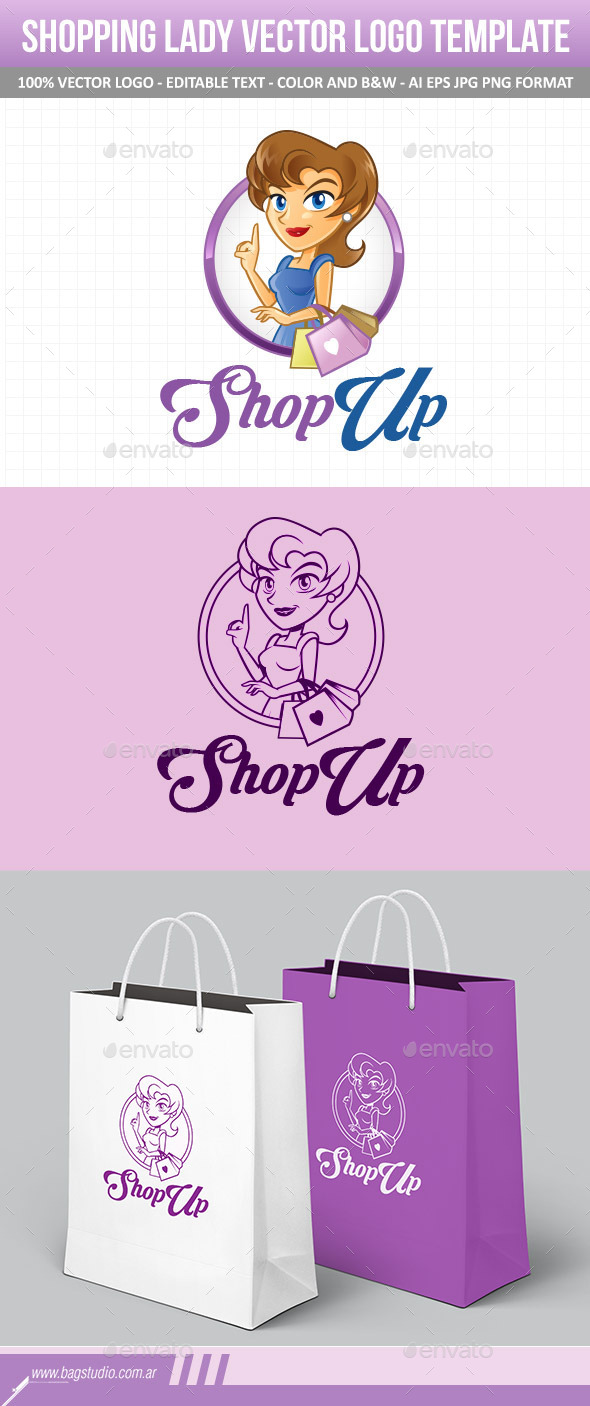 GraphicRiver Shopping Lady Vector Logo Template 11116295
