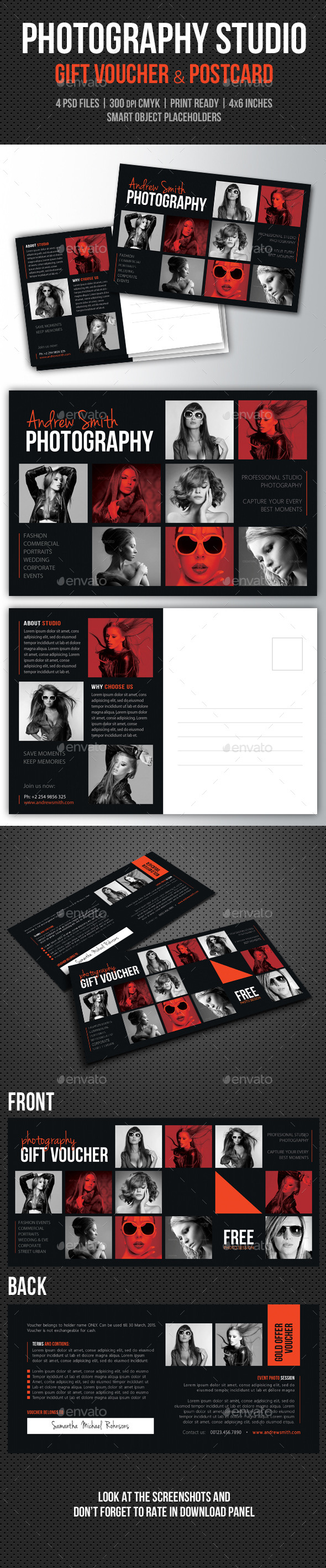 GraphicRiver Photography Studio Gift Voucher and Postcard 11148635