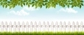 Long white fence banner with grass and fence. - PhotoDune Item for Sale