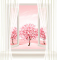 Spring background with an open window and blossoming pink sakura. - PhotoDune Item for Sale