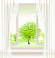 Background with an open window and green trees - PhotoDune Item for Sale