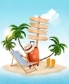 Beach with a palm tree, wooden sign and a beach chair. Summer vacation concept background.  - PhotoDune Item for Sale
